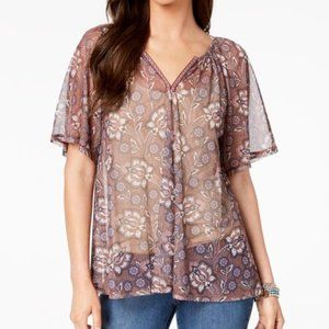 Style & Co Floral-Print Mesh Top